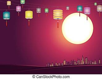 ville, lanternes, chinois, mid-autumn