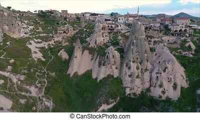 ville, large, pierre, coup, découpé, structures