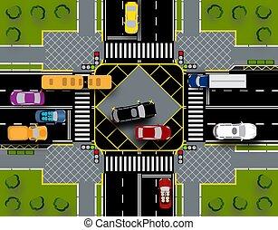 ville, lawns., croisement, lights., gros plan, piéton, trafic, illustration, intersection