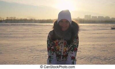 ville, lent, hiver, lancement, flamme, neige, avoir, effects., champ, femme, coucher soleil, séduisant, fond, amusement, lense, mouvement, 1920x1080, heureux