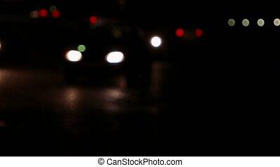 ville, lent, voitures, moderne, lumières, en mouvement, dark., nuit, trafic