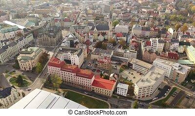 ville, liberec, townscape, bâtiment, aérien, automne, ...