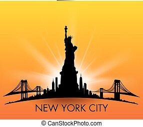 ville, liberté, horizon, vecteur, coucher soleil, york, statue, nouveau