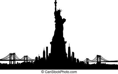 ville, liberté, horizon, vecteur, york, statue, nouveau