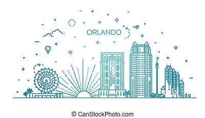 ville, linéaire, bannière, florida., orlando