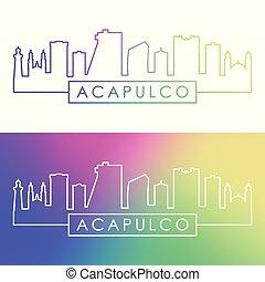 ville, linéaire, coloré, acapulco, skyline., style.