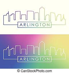 ville, linéaire, coloré, arlington, skyline., style.