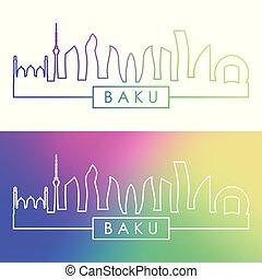 ville, linéaire, coloré, baku, skyline., style.