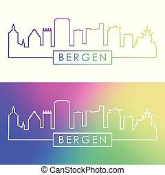 ville, linéaire, coloré, bergen, skyline., style.