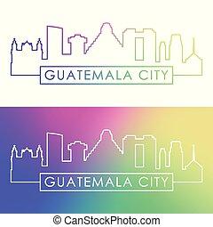 ville, linéaire, coloré, guatemala, skyline., style.