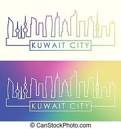 ville, linéaire, coloré, koweït, skyline., style.