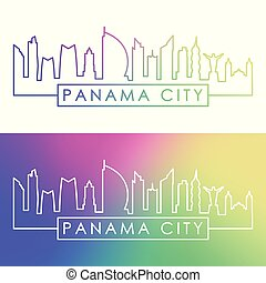 ville, linéaire, coloré, panama, skyline., style.