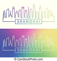 ville, linéaire, coloré, shanghai, skyline., style.