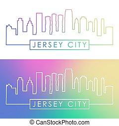 ville, linéaire, coloré, skyline., style., jersey