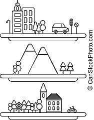 ville, linéaire, nature, collection, vecteur, illustration, village, style., illustrations.