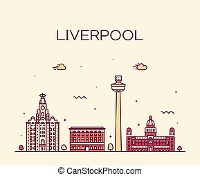 ville, liverpool, nord, ouest, horizon, vecteur, angleterre