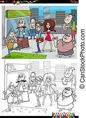 ville, livre coloration, dessin animé, gens, page