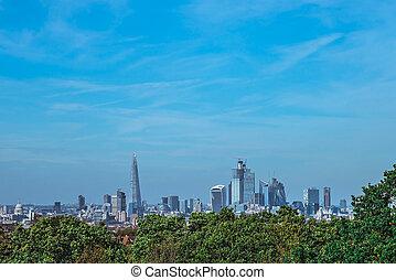 ville, londres, gratte-ciel, panorama