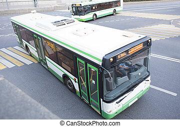 ville, long, rue, va, autobus