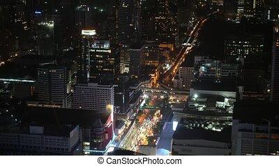 ville, métropole, financier, zone affaires, centers., rue, trafic, nuit, gratte-ciel