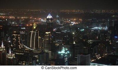 ville, métropole, gratte-ciel, business, centers., nuit, vue
