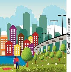 ville, métropole, moderne