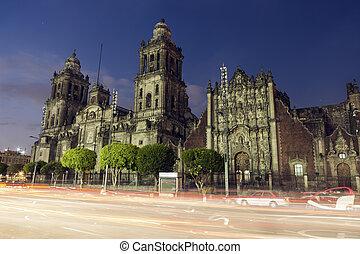 ville, métropolitain, mexique, cathédrale