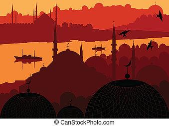 ville, magie, istanbul, turc, vecteur, paysage