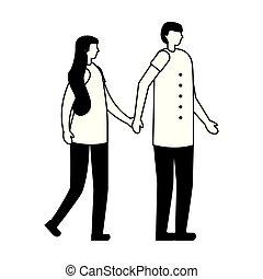 ville, mains tenue couple