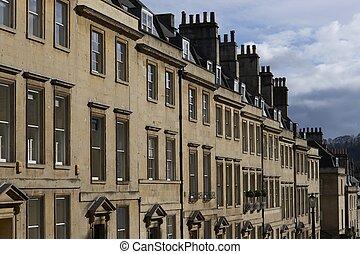 ville, maisons, dans, historique, bain