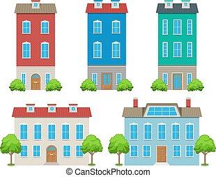 ville, maisons, ensemble
