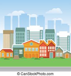 ville, maisons, vecteur, dessin animé, buidings
