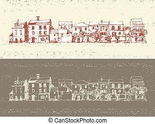 ville, maisons, vieux