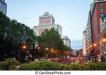 ville, maman, edificio, trafic, fond, nuit, espana, vue