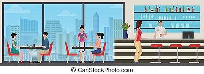ville, manger, gens, moderne, cafe., intérieur, vue., restaurant