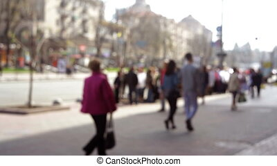 ville, marche, anonyme, gens, brouillé, rue, fond, foules, autour de