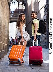 ville, marche, bagage, jeune, par, paire