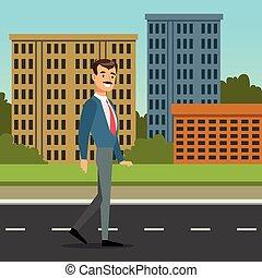 ville, marche, bureau, plat, character., ouvrier, style, illustration, mustached, bas, arrière-plan., vecteur, architecture, rue., homme, dessin animé, heureux