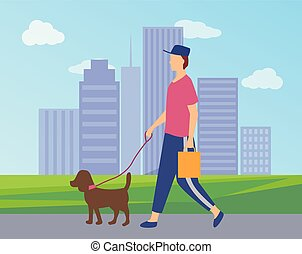 ville, marche, caractère, parc, chien, vecteur, homme