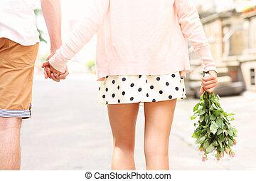 ville, marche, couple, romantique