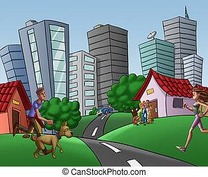 ville, marche, courant