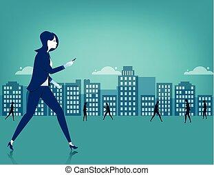 ville, marche, femme affaires, téléphone, utilisation, intelligent