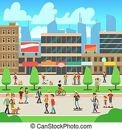 ville, marche, gens rue, illustration, vecteur, cityscape, urbain