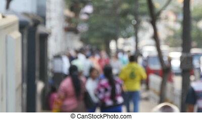 ville, marche, occupé, city., rue., gens, grand, foyer, mouvement brouillé, aller, unrecognizable, lent, fond, piétons, long, downtown., dehors