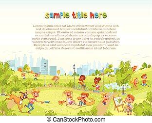 ville, marche, park., cour de récréation, enfants