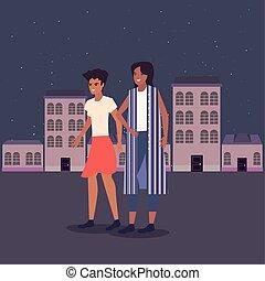 ville, marche, rue, deux femmes