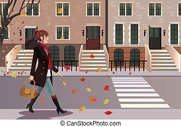 ville, marche, york, nouveau, élégant, girl