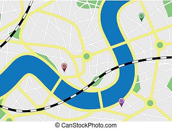ville, marqueurs, carte
