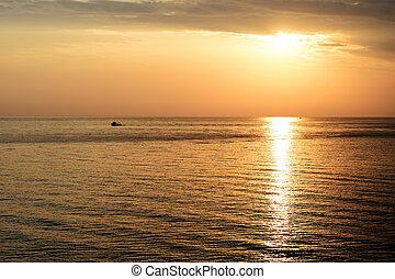 ville, matin, marine, beau, cefalu., italie, sicile