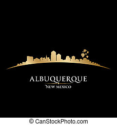 ville, mexique, albuquerque, illustration, silhouette., ...